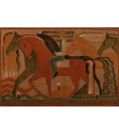 Cubist, 1930s Male and Horses Unknown Artist Watercolor and Pencil on Canvas
