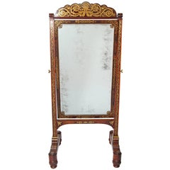 19th Century Regency Rosewood Brass Inlay Boulle Work Cheval Mirror