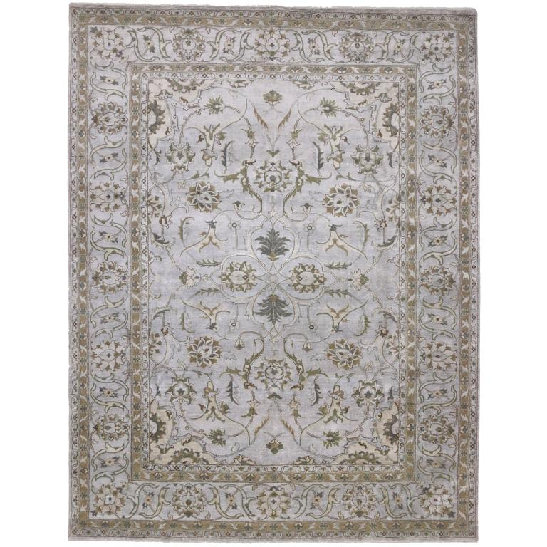 Neoclassical Style Silk Area Rug With Indo-Persian