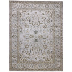 Neoclassical Style Silk Area Rug with Indo-Persian Sultanabad Design