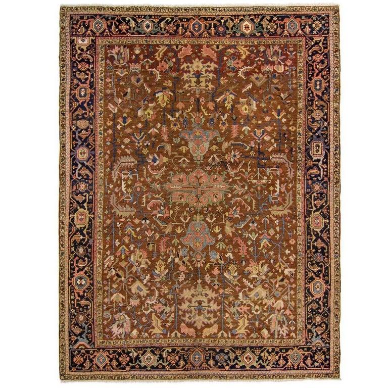 Brown Antique All-Over Heriz Serapi Rug For Sale At 1stdibs