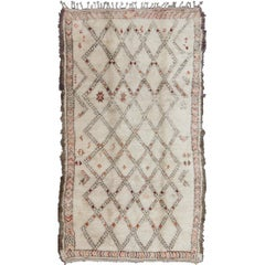 Moroccan Rug with Diamonds and Tribal Shapes in White, Brown, Red and Orange