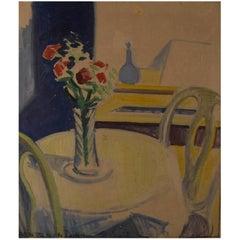 Axel Bentzen Copenhagen 1893-1952 Still Life with Flowers on Table