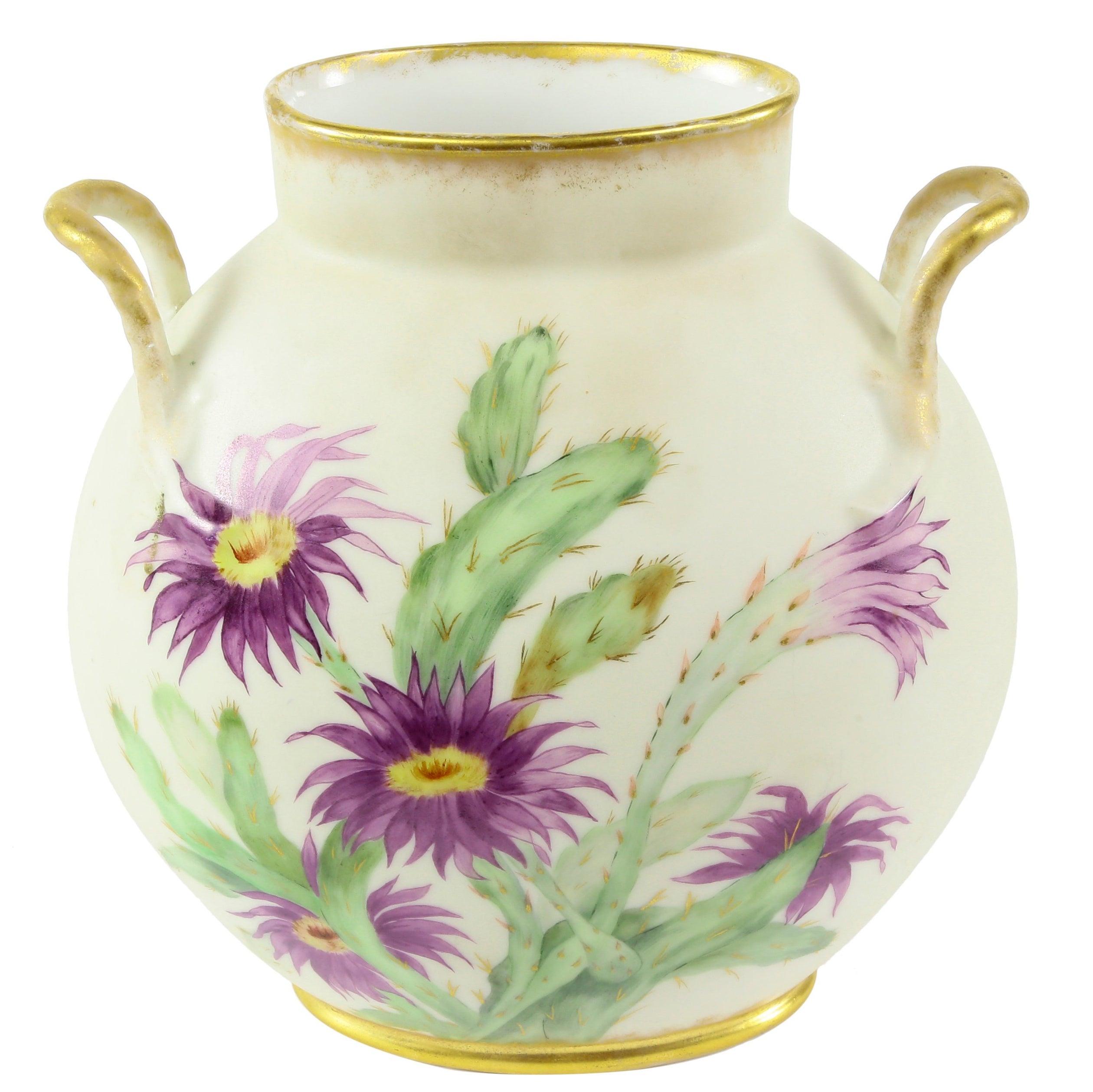 Antique Limoges Hand-Painted Flowers Porcelain Vase Estate France