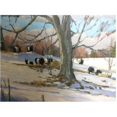 Gorgeous Plein Air Oil Painting of Belted Galloway Cows