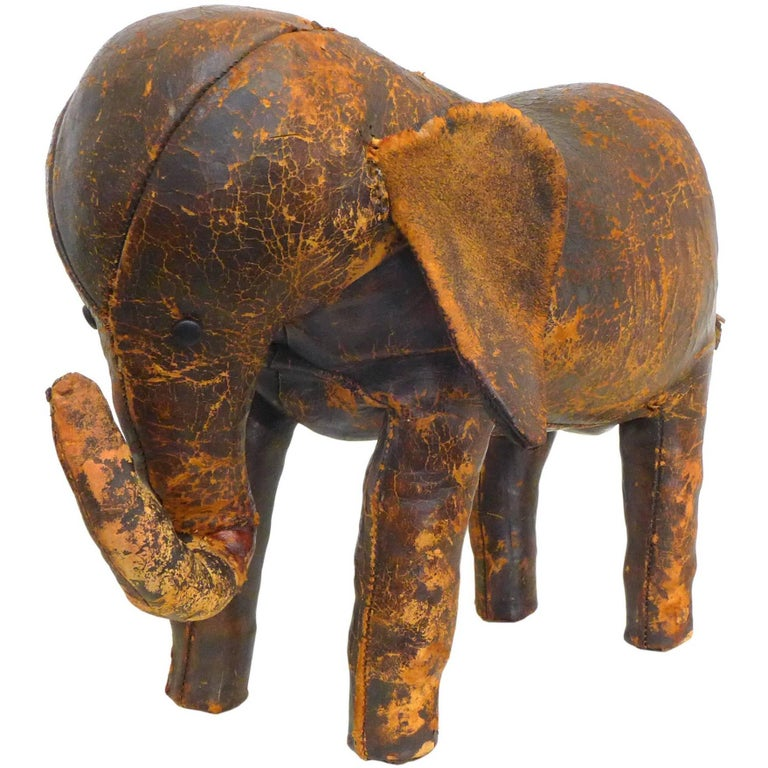Leather Elephant Footstool