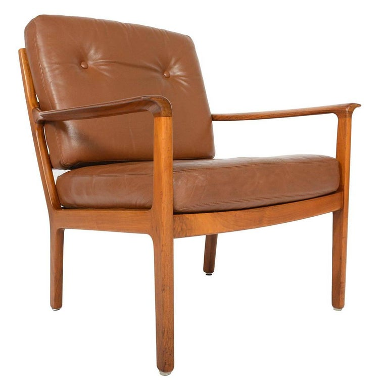 Fredrik Kayser Rosewood and Leather Lounge Chair