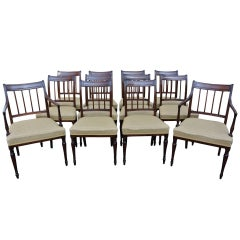 Set of 12 Sheraton Period Mahogany Dining Chairs Ten Single Two Armchairs