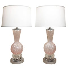 Barovier & Toso Pair of Hand-Blown Pink Glass Table Lamps, 1950s