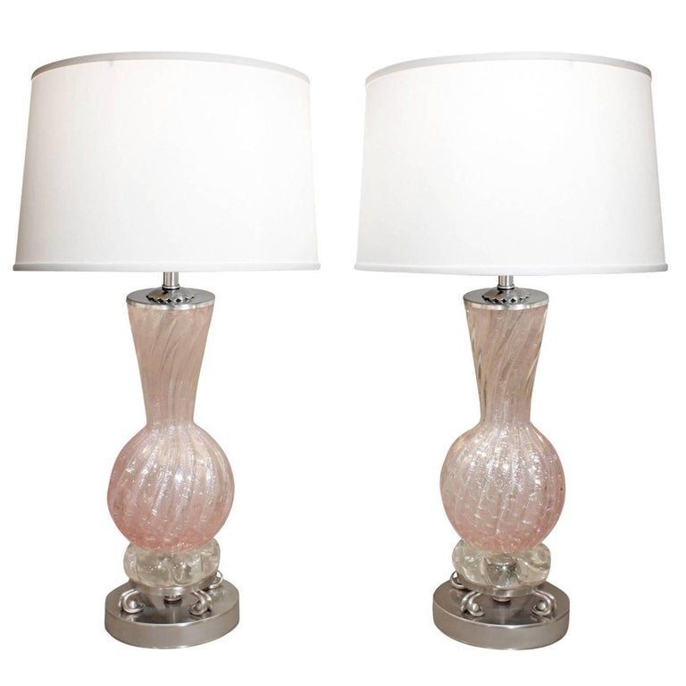 Barovier and toso pair of hand blown pink glass table lamps 1950s barovier toso pair of hand blown pink glass table lamps 1950s for sale aloadofball Gallery