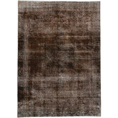 Distressed Antique Persian Rug Overdyed Brown with Modern Industrial Style