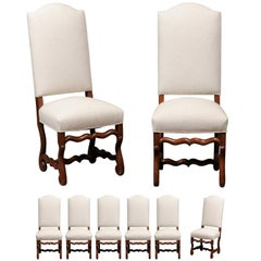 Set of Eight French Louis XIV Style Oak Upholstered Back Dining Chairs in Oak