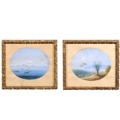 Pair of 19th Century Italian Giltwood Framed Gouache Seascape Paintings