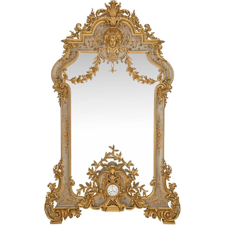 Italian 19th Century Louis XV St. Patinated and Giltwood Mirror with Clock