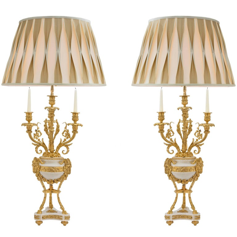 French 19th Century Louis XVI Style, White Carrara Marble and Ormolu Lamps