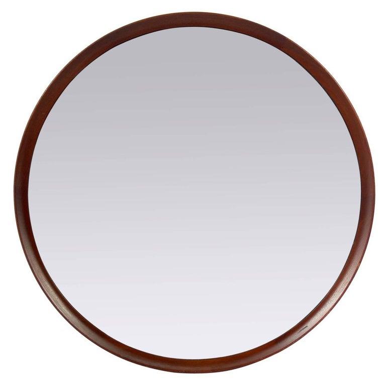 Danish Modern Teak Porthole Mirror