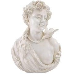 Italian 19th Century White Carrara Marble Sculpture Signed G. Adremis, Pisa