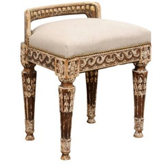 French, 1850s Distressed Neoclassical Upholstered Stool with Vitruvian Scroll