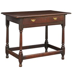 English George III Oak Side Table with Single Drawer from the Late 18th Century