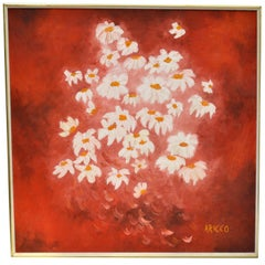 Daisy Painting Acrylic on Canvas by Aricco, Italy