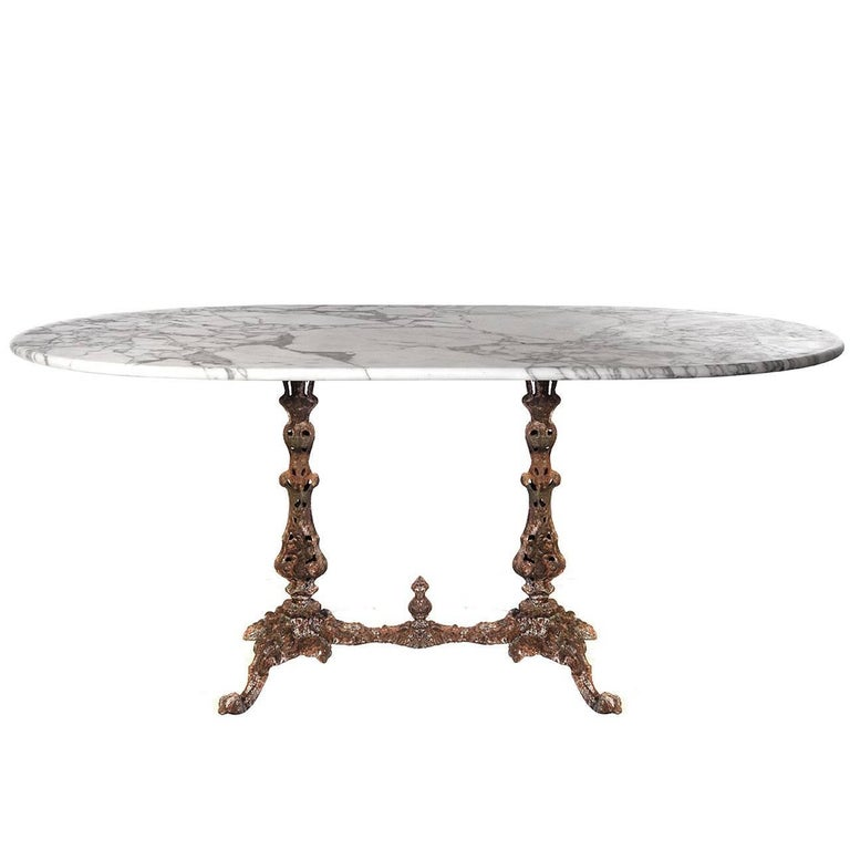 1800s Marble Table with Fiske Cast Iron Base