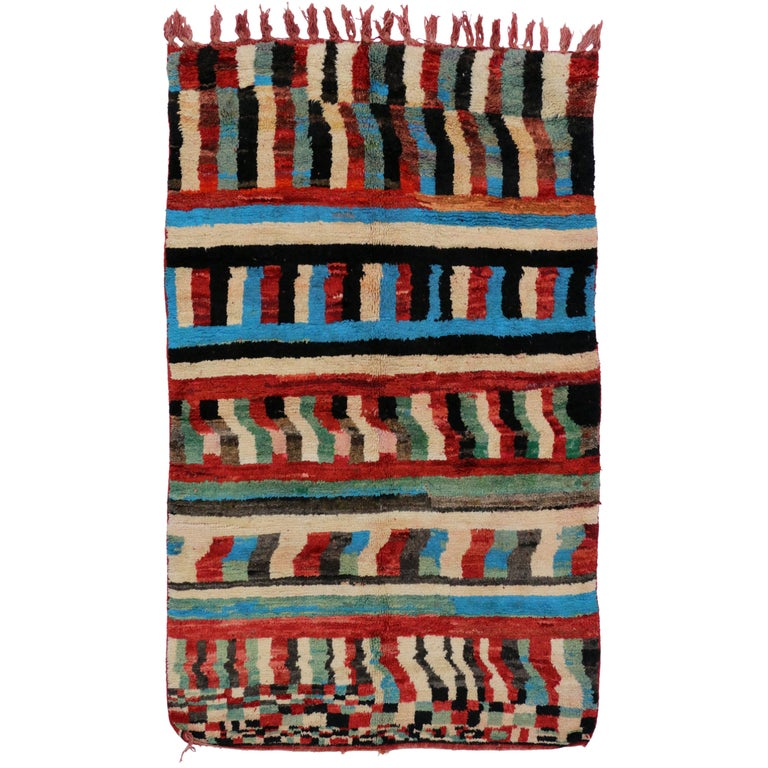 Boho Chic Vintage Berber Moroccan Rug with Contemporary Abstract Design