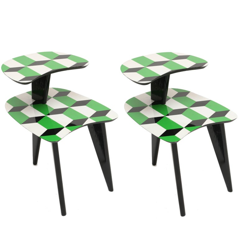 Pair of 1950s Vintage Tables with Black Angular Three Legs
