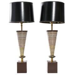 Mid-Century Lamps with Glazed Ceramic Body