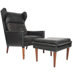 Kurt Ostervig Model 55 Black Leather Lounge Chair and Ottoman