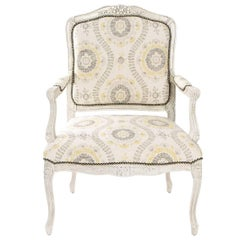 Painted Open Armchair with Indian Flower Fabric