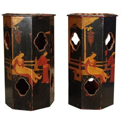 Pair of Chinese Lacquered Hat Stands