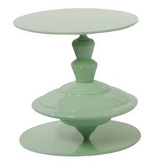 Spinning Top Green Coffee Table with Revolving Top Plane by Paolo Giordano
