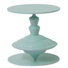 Spinning Top Light Blue Coffee Table with Revolving Top Plane by Paolo Giordano