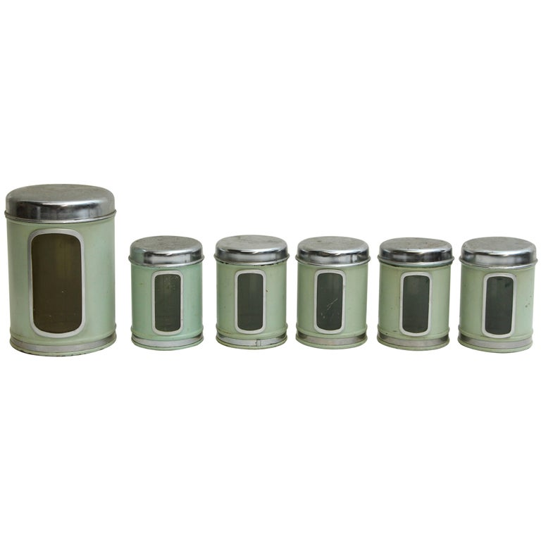 1950s Mid Century Modern Brabantia Six Piece Green French Kitchen Canister Set For
