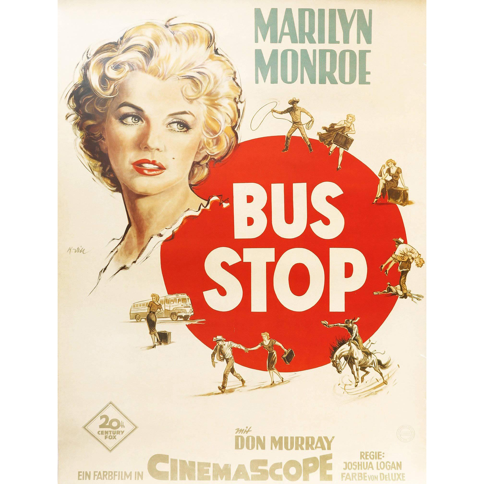 1956 Marilyn Monroe and Don Murray 'Bus Stop' German Movie Poster