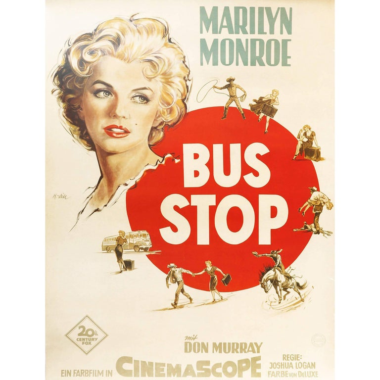 1956 Marilyn Monroe and Don Murray 'Bus Stop' German Movie Poster For Sale