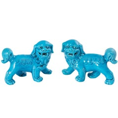 Pair of Turquoise Foo Dogs
