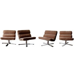 Mid-Century Modern Four Chrome Swivel Lounge Solo Chairs John Follis by Fortress