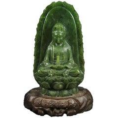 Jade Buddha, Kwan Yin, Nephrite Spinach Jade, Hand-Carved