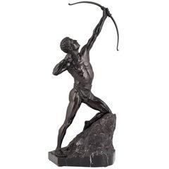 Antique Bonze Sculpture Male Nude Archer, Germany, circa 1900
