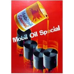 Large Original Vintage Mid Century Design Advertising Poster - Mobil Oil Special