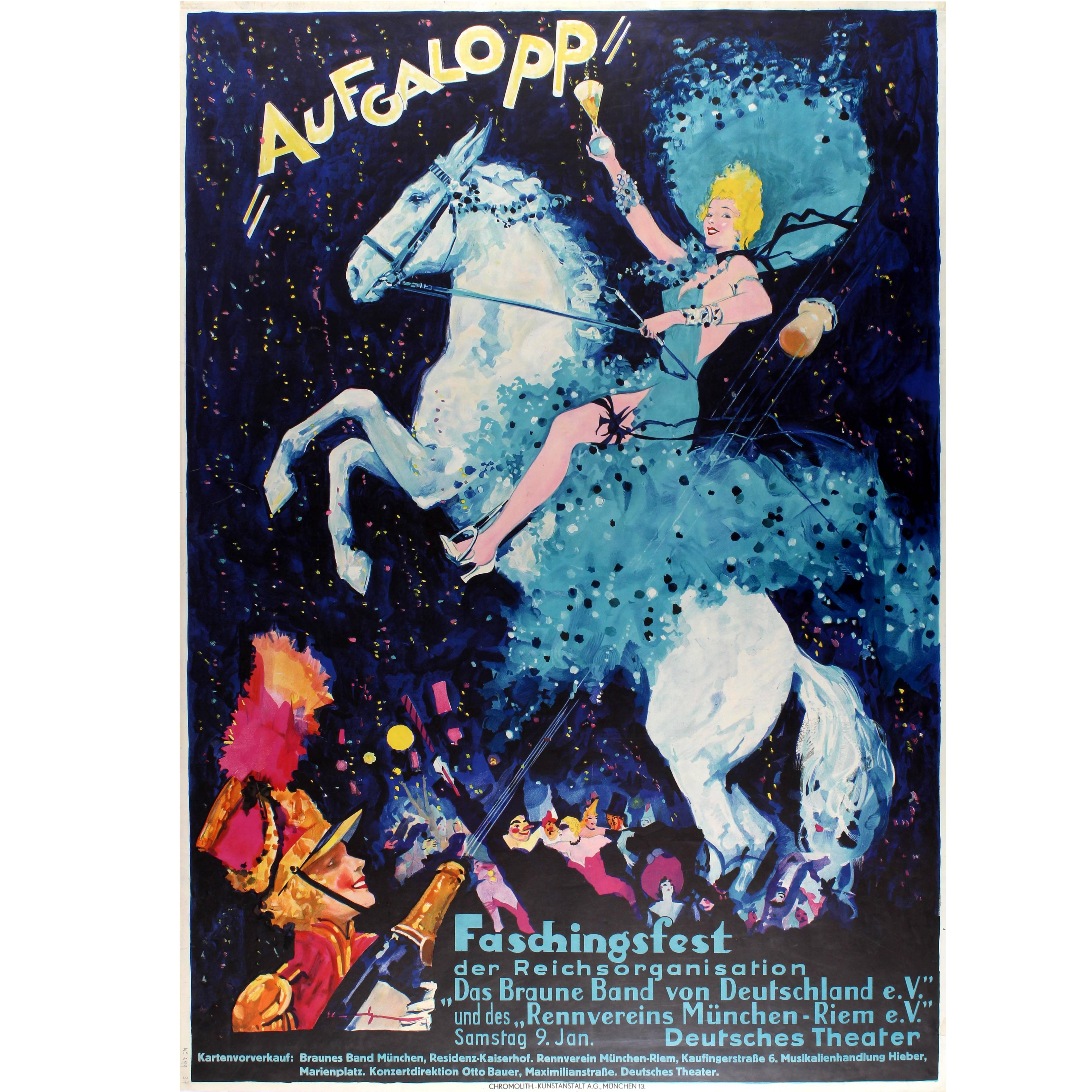 Large Original Vintage Poster for the Aufgalopp Faschingsfest Carnival in Munich