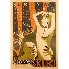 Original Vintage Modernist Design Theatre Poster Clovek V Kleci / Man in a Cage