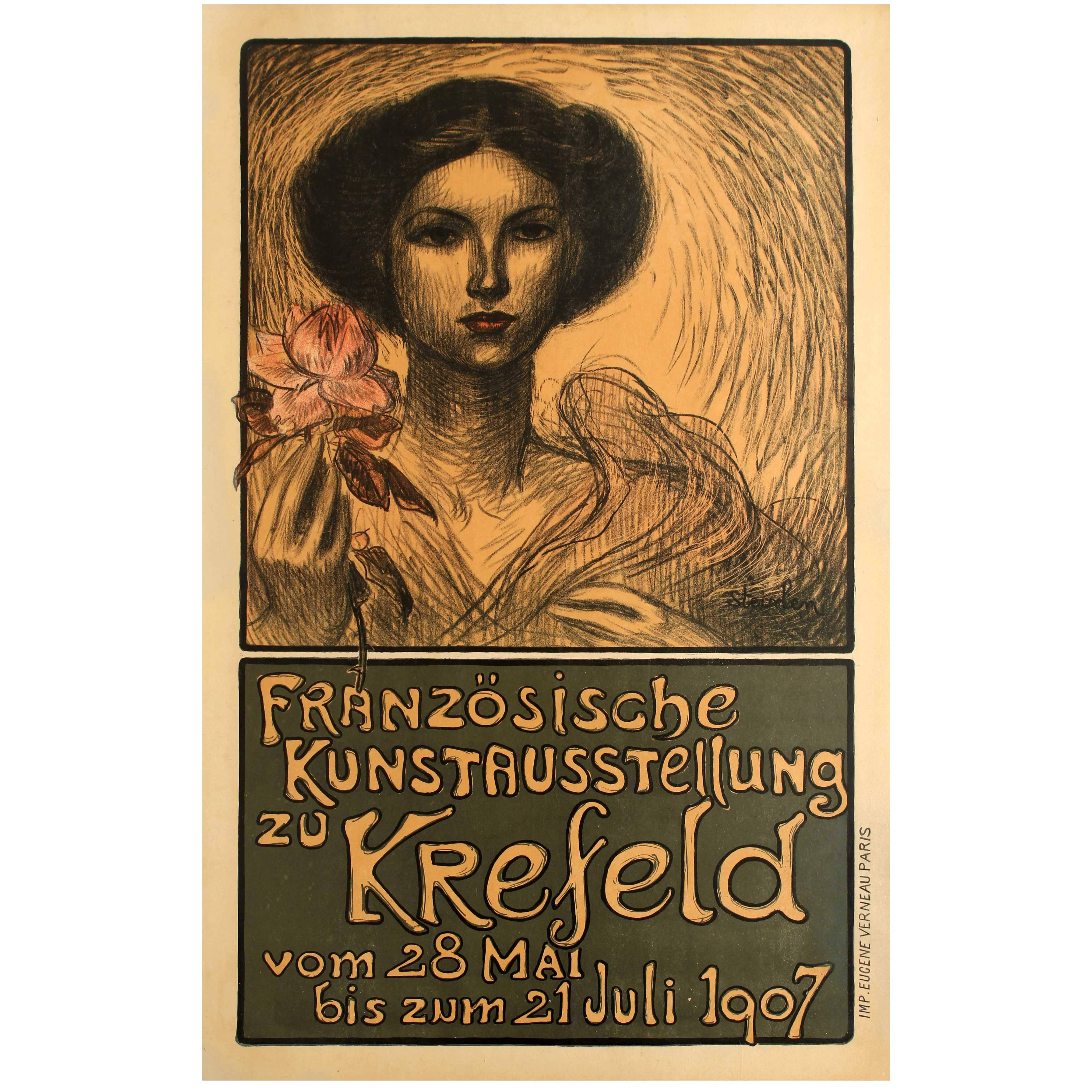 Original Antique Art Nouveau Poster for a French Art Exhibition in Krefeld