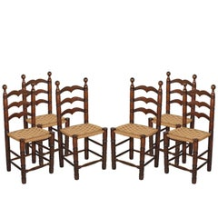 "Italy Calligaris Renaissance ""Pisane"" Chairs, Solid Turned Oak with Straw Seat"