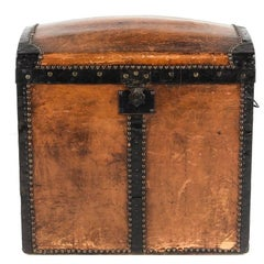 Antique French Leather Trunk, Early 20th Century