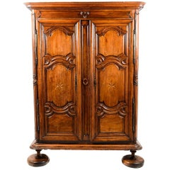 Antique French Country Cherry and Oak Panelled Armoire, circa 1780