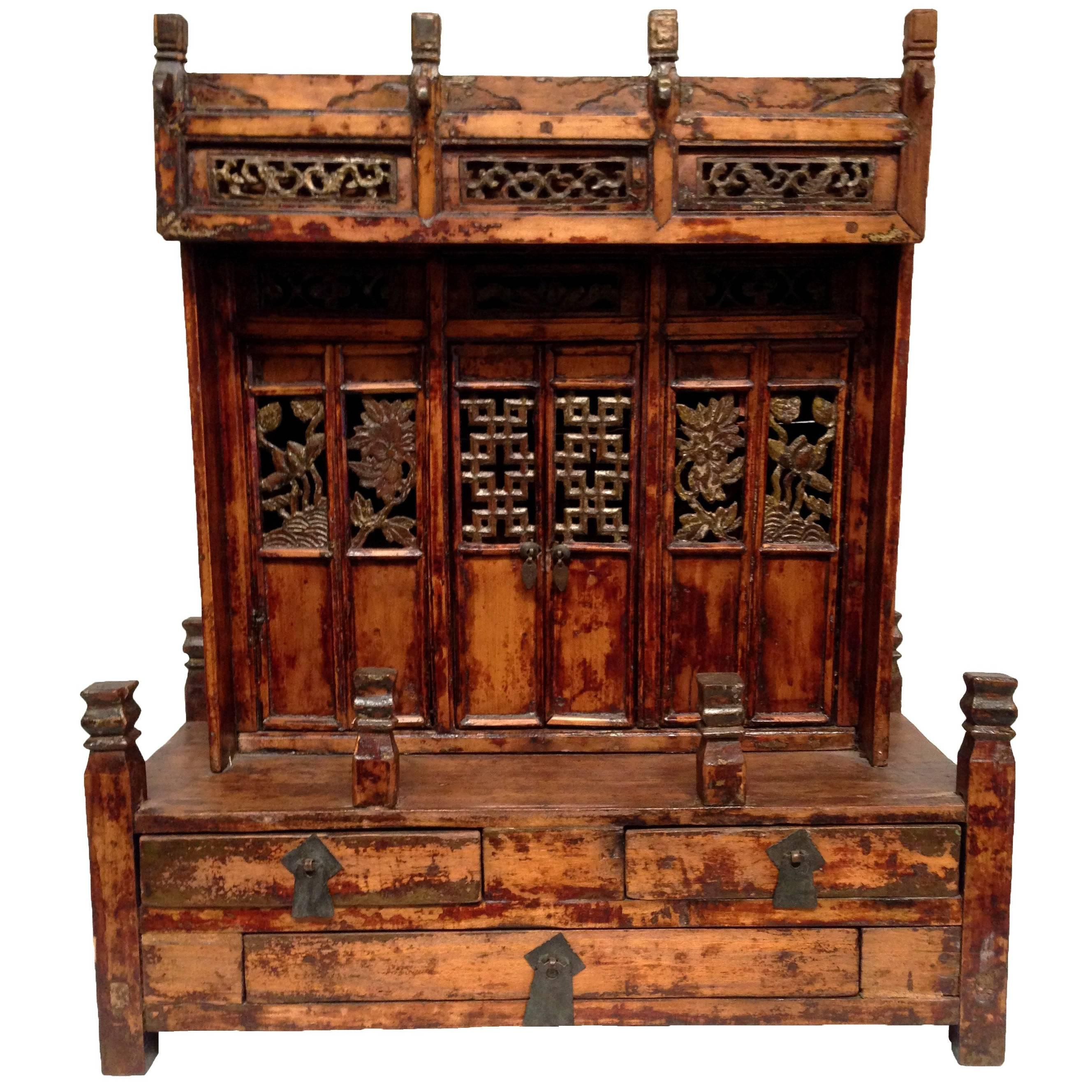 Rare Antique Buddha Cabinet with Carved Doors and Beautifully ...