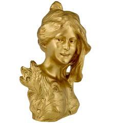 French Art Nouveau Gilt Bronze sculpture Bust of a lady by Leopold Savine 1905