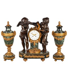 Large Louis XVI Style Spelter Clock Set